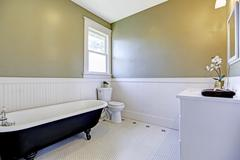 bathroom with claw foot tub - stock photo