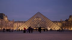 Day To Night Louvre Time Lapsed in Paris France - Low Angle Stock Footage
