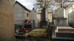 Jim Morrison's Grave site in Paris France Cemetery Time Lapsed 2013 Stock Footage