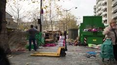 Market Clean Up Paris, France Time Lapse 17 Stock Footage