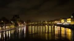 Paris, France On The River Seine At Night Time Lapse 11 Stock Footage