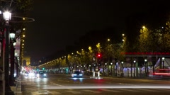 Busy Street At Night ,Paris ,France Time Lapse 10 Stock Footage