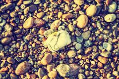 rocky, stony texture background, retro vintage effect. - stock photo