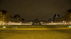 Paris Louvre At Night Time Lapse 02 - stock footage