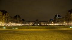 Paris Louvre At Night Time Lapse 02 Stock Footage