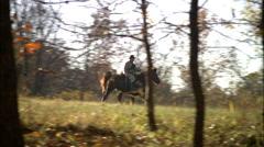 Horseback Soldiers in woods Stock Footage