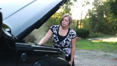 Stranded Woman Motorist Side of Road Stock Footage