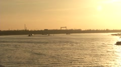Static shopt of shipping lane in Antwerp harbor at the golden hour. Stock Footage