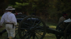 Horses moving cannon Stock Footage