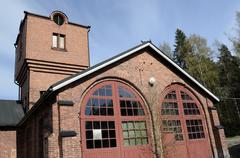 Old brick building locomotive depot Stock Photos