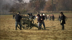 Union Soldiers firing a cannon Stock Footage