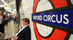 Oxford Circus station passengers - stock footage