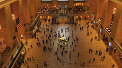 4K Grand Central Terminal Main Concourse High Angle 3 Stock Footage