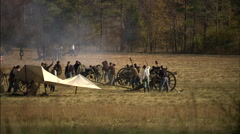 Stock Video Footage of Confederate's firing cannons