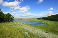 Lake Avras (Khakassia) summer view  Stock Photos