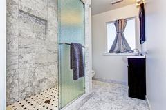 bathroom interior in granite tile - stock photo