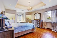 Bedroom interior in luxury house Stock Photos