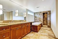 Bathroom interior in luxury house Stock Photos