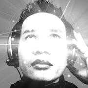 Man Listening To Music,Black And White - stock illustration