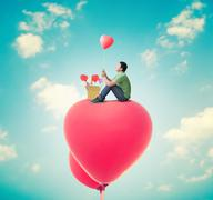 Man With Heart Balloons,Valentines Day Background Stock Illustration