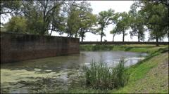 Louisiana Fort Jackson moat and wall 4k Stock Footage