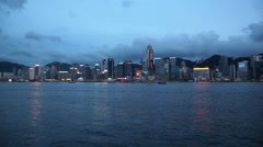 Victoria Harbour and Cityscape in Central Hong Kong at Blue Hour 1920x1080 Stock Footage