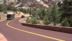 Tour bus Zion National Park scenic byway road 4K Stock Footage