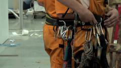 Mountaineering gear of the Industrial climber. Stock Footage