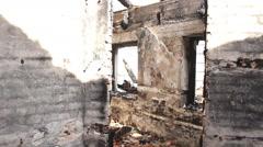 Ruined house demolished home Stock Footage
