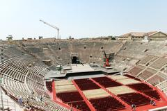 above view of interior amphitheater verona arena - stock photo
