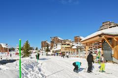 Shopping street in avoriaz town in alps, france Stock Photos