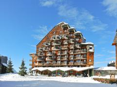 square in avoriaz town in alps, france - stock photo