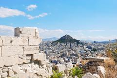 view of lycabettus mount in athens city - stock photo