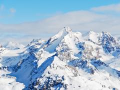 snow mountains in paradiski skiing domain - stock photo