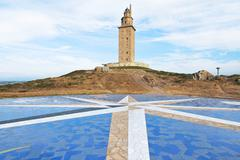 lighthouse tower of hercules, la coruna, galicia - stock photo