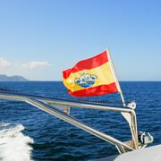 Yachts ensign (spain) on boat Stock Photos