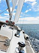 Yacht is tacking in adriatic sea Stock Photos