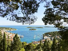 Adriatic sea coast of hvar island in dalmatia Stock Photos