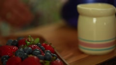baker making a berry fruit tart desert with food processor - stock footage