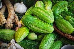 ingredients preparation pickled cucumbers - stock photo