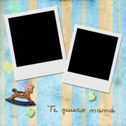 sentence te quiero mama, love you mom in spanish, two instant photo frame - stock illustration