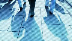 Walking slow motion. city urban. backgrounds. group team. people person Stock Footage