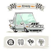 Cartoon Sport Car Set - stock illustration