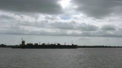 Louisiana Mississippi River ships cloudy sky time lapse 4k Stock Footage