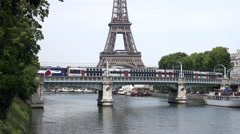 Eiffel and Tower and Train on Bridge (2xSpeed) Stock Footage