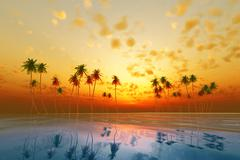 Stock Illustration of tropical sunset