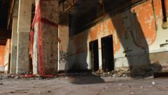 Horror Scene walking ghost man in Ruined house Stock Footage