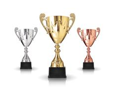 Three different kind of trophies isolated on white background Stock Photos