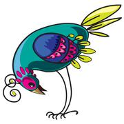 Curious decorative tropical multi-colored bird, design element Piirros