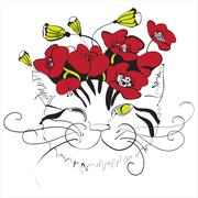 Monochrome cat head with red poppy flowers on top Stock Illustration